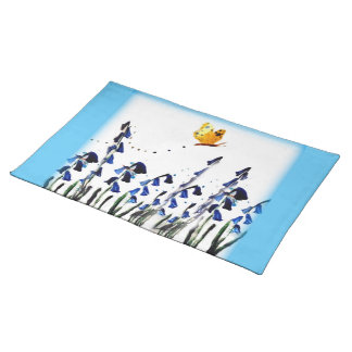 Bluebells butterfly floral art placemat