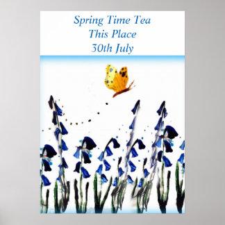 Bluebells butterfly floral art poster