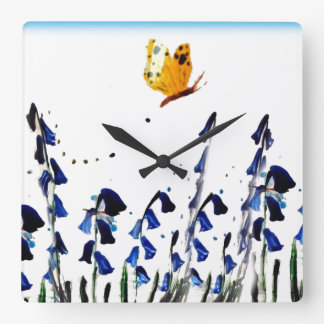 Bluebells butterfly floral art square wall clock