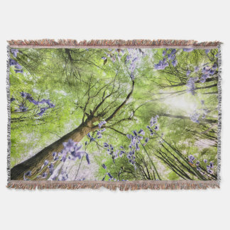 Bluebells from worms eye view throw blanket