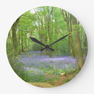 Bluebells in Woods Large Clock