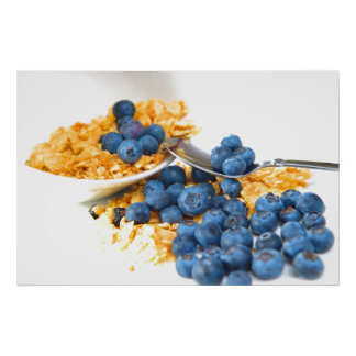 Blueberries And Cereal Closeup Poster