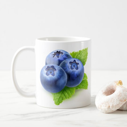 Blueberries and mint coffee mug