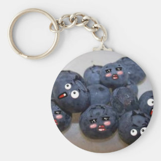blueberries basic round button key ring