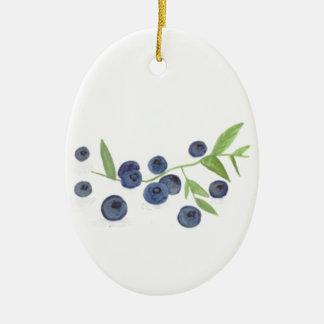 Blueberries fruit kitchen decor ceramic oval decoration