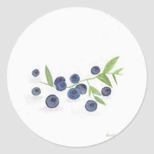 Blueberries fruit kitchen decor classic round sticker