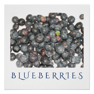 Blueberries Kitchen Art Poster for Home Decor