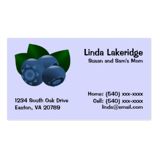 Blueberries Mommy Contact  Info Card Pack Of Standard Business Cards