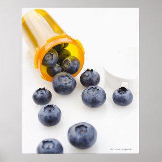 Blueberries spilling from prescription bottle poster
