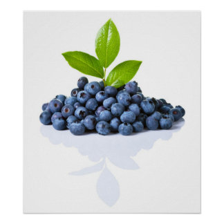 Blueberries With Green Leaves Posters