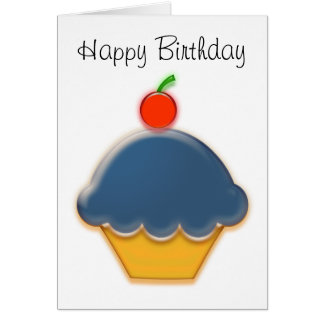 Blueberry and Cherry Cupcake Art Greeting Card
