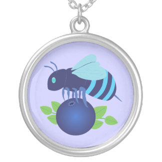 Blueberry Bee Silver Plated Necklace