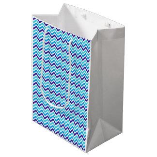Blueberry Chevron Pattern Zig Zag Print Gift Bag