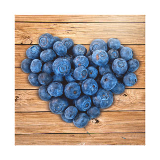 Blueberry Heart Stretched Canvas Prints