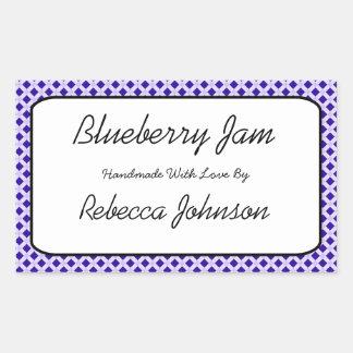 Blueberry Jam Custom Text Jar Label Rectangular Sticker