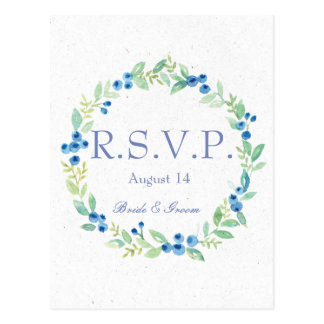 Blueberry Midsummer Rustic Berry Wedding  RSVP Postcard