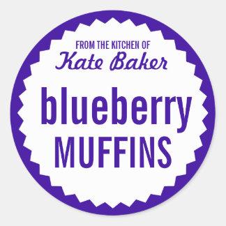 Blueberry Muffin Bake Sale Label Template Round Sticker
