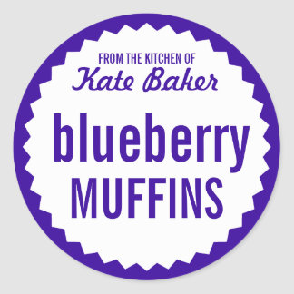 Blueberry Muffin Bake Sale Label Template Classic Round Sticker