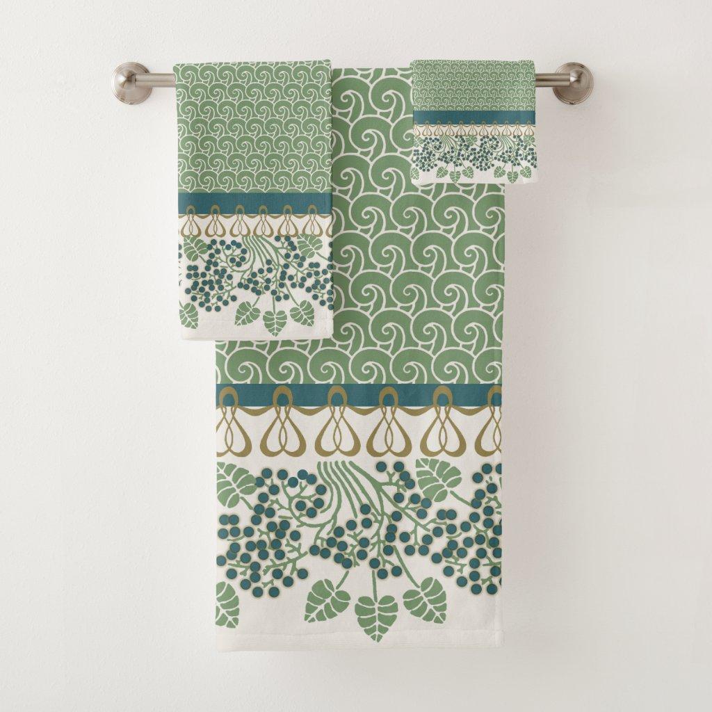 Blueberry Nouveau Art Deco Bath Towel Sets