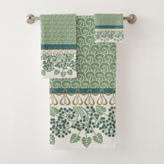 Blueberry Nouveau Art Deco Bath Towel Sets