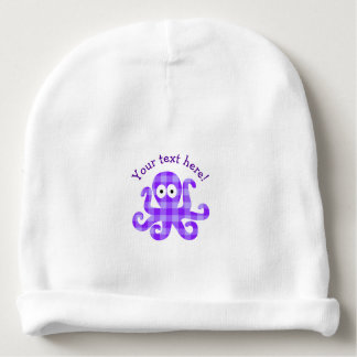Blueberry Octopie Purple Checkered Cartoon Octopus Baby Beanie