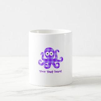 Blueberry Octopie Purple Checkered Cartoon Octopus Coffee Mug