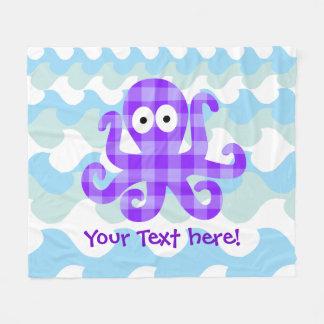 Blueberry Octopie Purple Checkered Cartoon Octopus Fleece Blanket