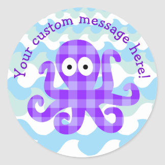 Blueberry Octopie Purple Checkered Cartoon Octopus Round Sticker