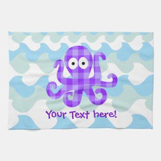 Blueberry Octopie Purple Checkered Cartoon Octopus Tea Towel