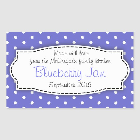 Blueberry preserve jam blue food label sticker