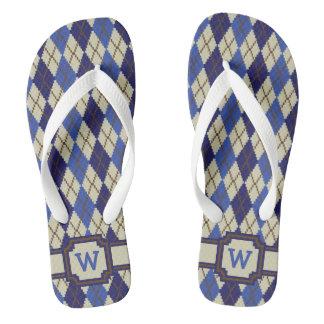 Blueberry Scone Argyle Flip Flops