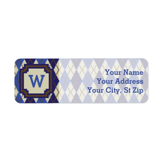 Blueberry Scone Argyle Return Address Label