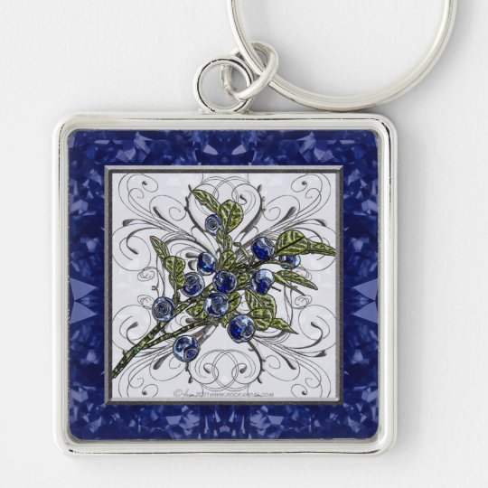 Blueberry Silver-Colored Square Key Ring