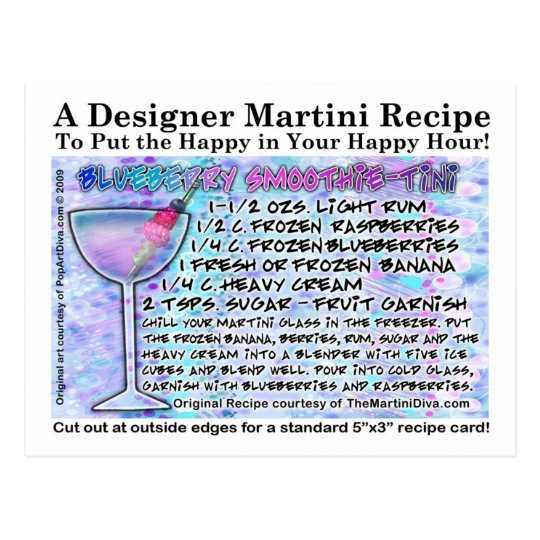 Blueberry Smoothie Martini Recipe Card Postcard