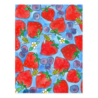 Blueberry Strawberry Bees Watercolor Fruit Postcard