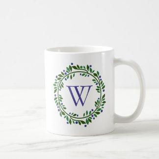 Blueberry Wreath Monogram Coffee Mug