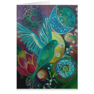 Bluebird abstract fantasy spirituaĺ card