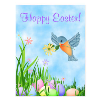 Bluebird and Flowers Happy Easter Postcard
