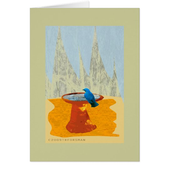 Bluebird at fountain collage Card