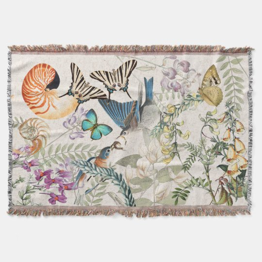 Bluebird Bird Butterfly Shell Floral Throw Blanket