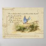Bluebird Bird on Branch Victor Hugo Poem Poster