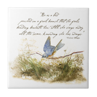 Bluebird Bird on Branch Victor Hugo Poem Small Square Tile