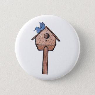 Bluebird Birdhouse...Button... 6 Cm Round Badge