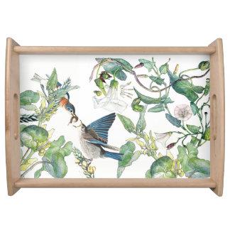 Bluebird Birds Animals Flowers Leaves Serving Tray
