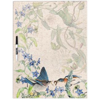 Bluebird Birds Borage Flowers Dry Erase Board