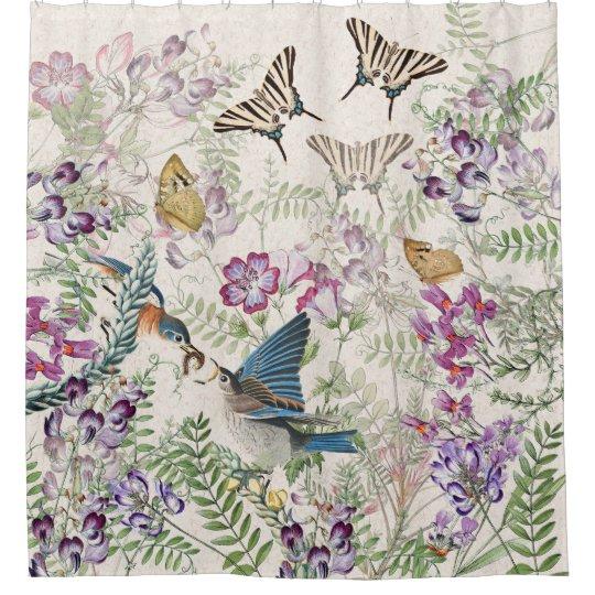 Bluebird Birds Butterfly Flowers Shower Curtain