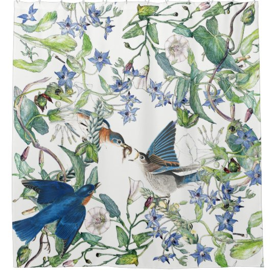 Bluebird Birds Morning Glory Floral Shower Curtain