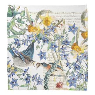Bluebird Birds Narcissus Borage Flowers Bandana