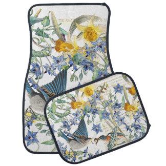 Bluebird Birds Narcissus Flowers Car Floor Mats