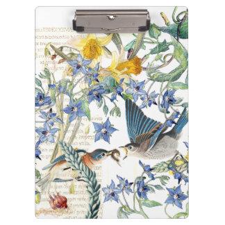 Bluebird Birds Narcissus Flowers Clipboard